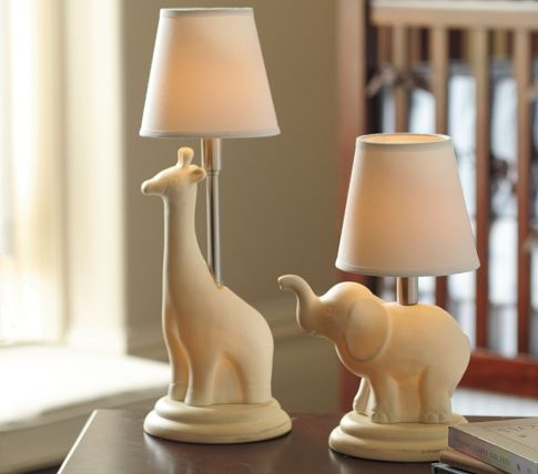 Giraffe and elephant lamps for nursery