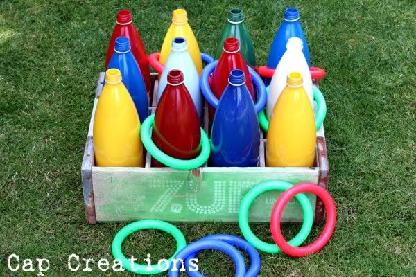 ring toss. spray paint the inside of the bottles. Let dry for 24 hours. weight by filling with sand.