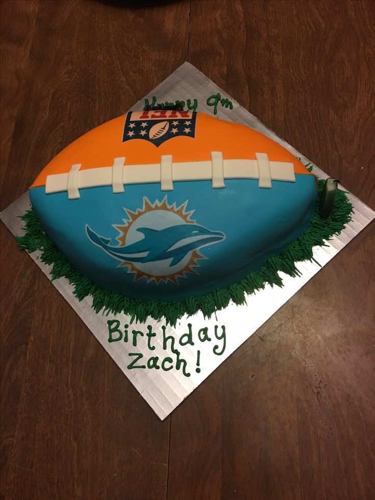 Miami Dolphins cake for my son's 9th birthday.   Bruce Lebitz https://www.fanprint.com/licenses/miami-dolphins?ref=5750
