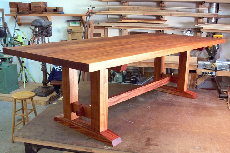 Hand made, custom built Mahogany Dining Table by Nick Offerman. Solid Mahogany Table. Hand rubbed Oil Finish. Made in USA.