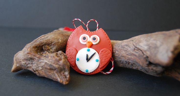owl clock polymer clay, martisor bufnita cu ceas din fimo