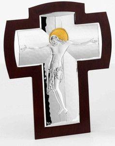 Srebrny Krzyż na drewnie, stanowi doskonały prezent na wiele okazji. #jubileusz #slub #rocznica