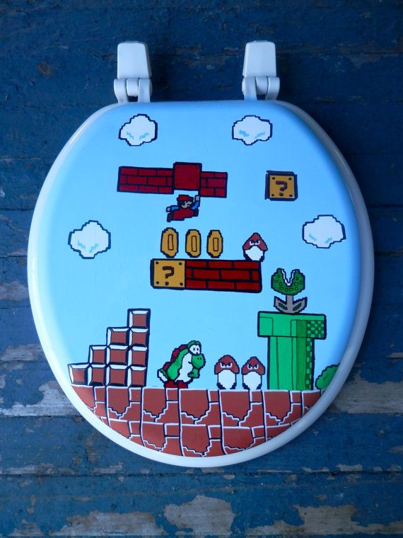 Mario Hand Painted Toilet Seat Nintendo Geekery by DebbieIsAdopted, $70.00  Going in gaming room