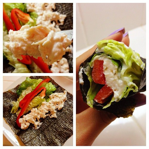 Greek yogurt chicken salad hand roll!!! Just mix some shredded chicken breast (I used Kirkland premium chunk chicken breast in a can from Costco) with plain Greek yogurt, add your fave veggies and roll in some nori! Done!