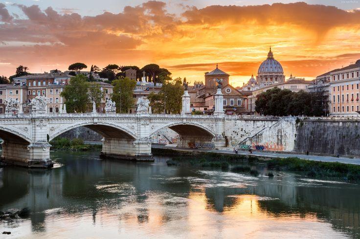 Włochy, Rzym, Rzeka, Most, Domy
