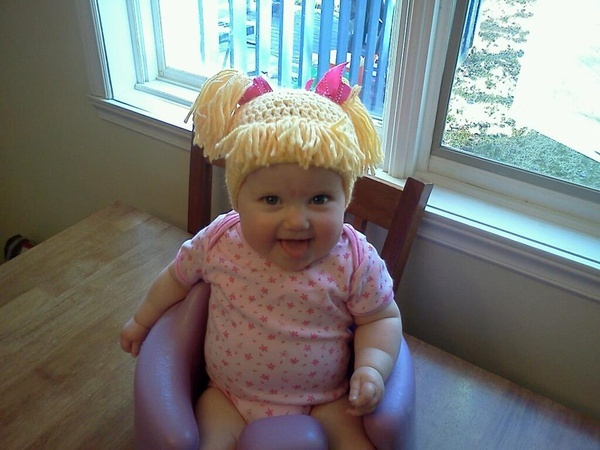 Hilarious!!! Cabbage Patch Knit Hat with fringe and pigtails