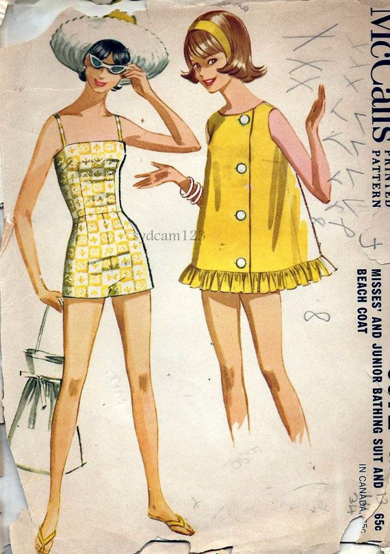 Vintage 1960 Bathing Suit and Beach Coat..Camisole Bodice Boy Leg Shorts...1962 McCalls 6372 Bust 34 UNCUT