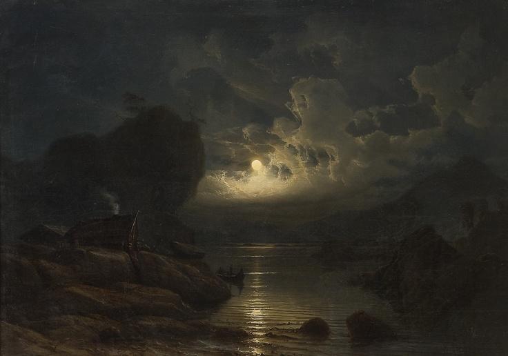 Knud Baade (1808-1879): Kystlandskap med folkeliv i måneskinn, 1852