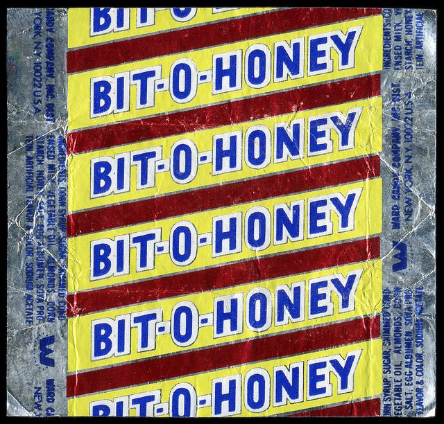 Bit-O-Honey individual foil #candy wrapper from the #1970s, photo by JasonLiebig, via Flickr