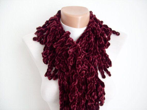 Burgundy  knit scarf  soft velvet  Winter accessories  by nurlu, $15.00