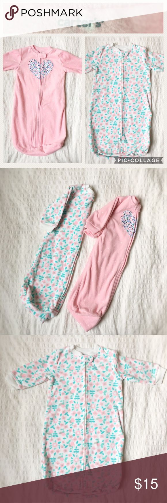 NWOT Fleece Little Sleep Bag Bundle by Carter's Bundle includes two fleece Little Sleep Bags by Carter's.  Sleeps bags feature zip closure with snap at top.  One pink polka dot print with floral heart accent.  One pink and green floral print.  0-9M.  NWOT, washed but never used.  100% polyester. Carter's Accessories