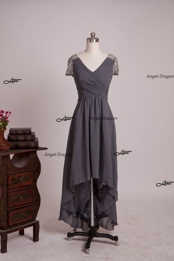 Grey Bridesmaid Dress A-line Simple Long Grey by angeldragon05