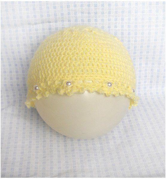 Żółta czapeczka z perełkami - Fantazja-handmade - Czapki dla dzieci