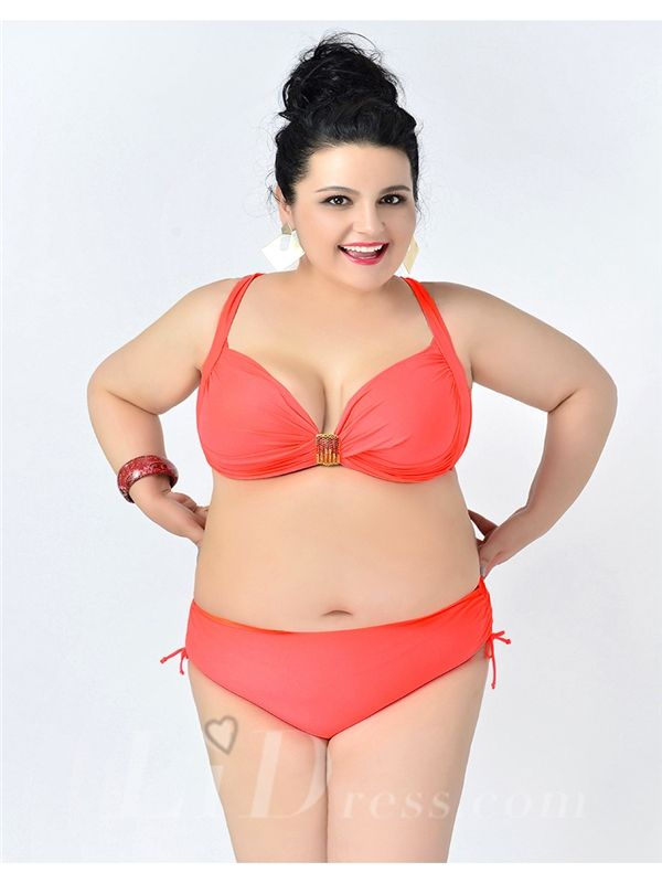 Watermelon Red Solid Color High Flexibility Sexy Halter Plus Size Bikini With Widening And Thickening Lidyy1605241075