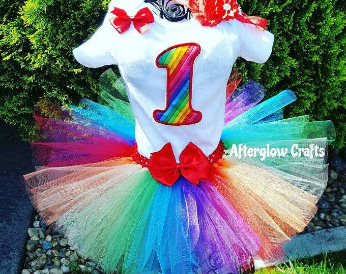 Atuendo de tutú de cumpleaños, cumpleaños arco iris Tutu Tutu de cumpleaños arco iris, tutú arcoiris, traje de arco iris, Outfit de cumpleaños arco iris, arco iris Set