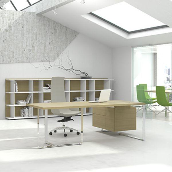 0b2e55227b86a5 Executive Schreibtisch PURE mit Hängecontainer und Kabelmanagement ...