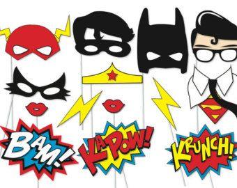 Superhero Photo booth Party Props Set - 14 Piece PRINTABLE - Superheros, Flash, Robin, Batman, Superman, Catwoman, Wonderwoman