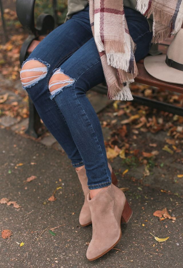 Accessories of Fall: Neutral ankle boots + plaid scarf