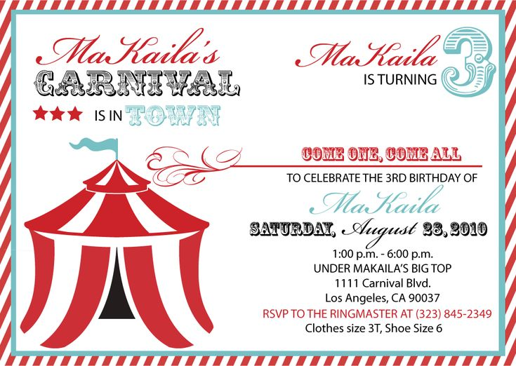 Top 25+ best Carnival party invitations ideas on Pinterest ...