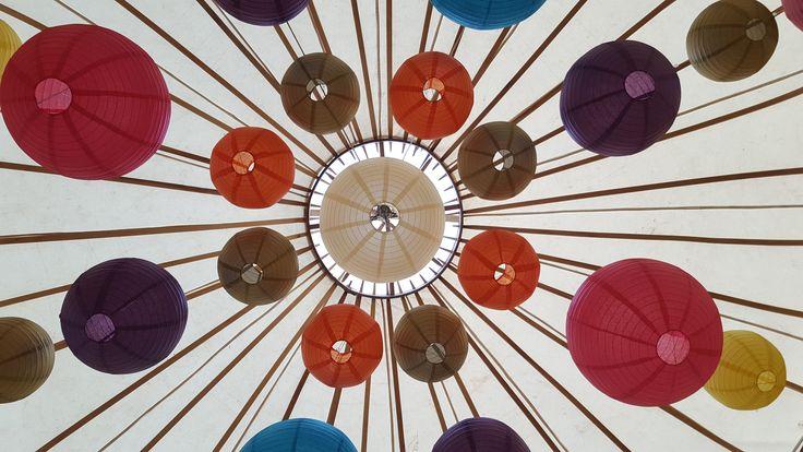 Another view of our second Yurt Canopy @cheltenhamyurthire #lanternlove #hanginglanterns #yurt #weddinglighting #eventprofs