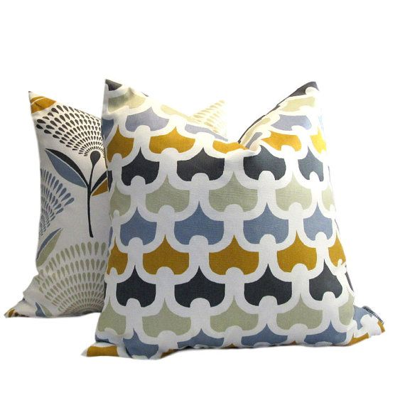 Scandinavian Chain Stitch Blue Print by PillowsByDwellissimo