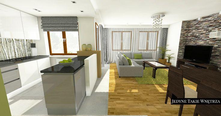 aranżacja salonu z kuchnią // szary kolor we wnętrzu // nowoczesna aranżacja wnętrza // projektowanie wnętrz kraków