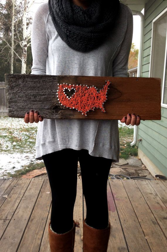United States Nail String Art III - Montana/NW Love - Wood Shank $40