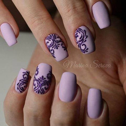 Matte lilac / light purple nails with black stenciling Free Hand Nail Art #EasyFreeHandNailArt