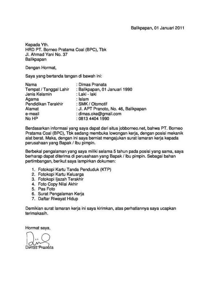 Contoh Surat Lamaran Kerja Untuk Dinas Pekerjaan Umum Riwayat Hidup Surat Cv Kreatif