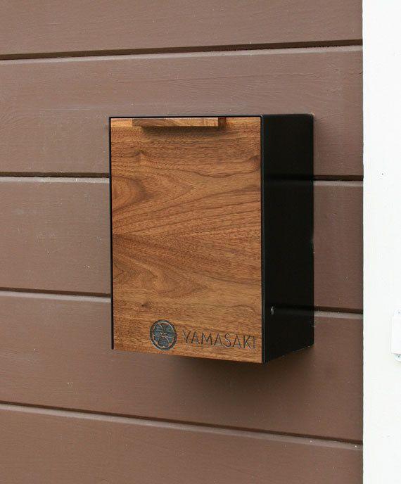Modern Mailbox, Walnut Wall Mounted mailbox, Narrow size