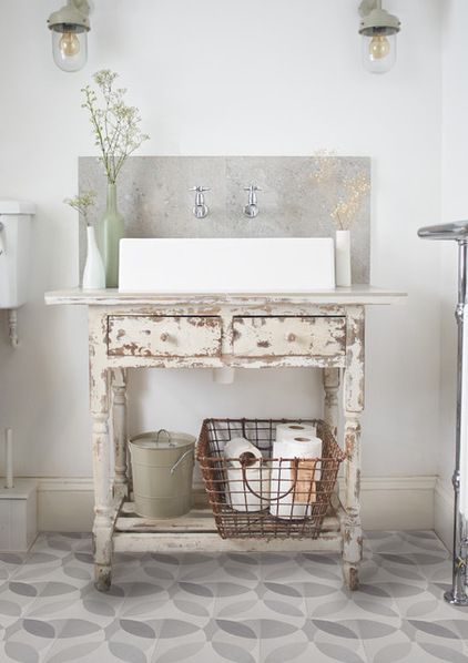 Image Gallery Website  uLeaf u grey encaustic tiles by Lindsey Lang Shabby chic Bathroom london by Lindsey Lang Design Ltd