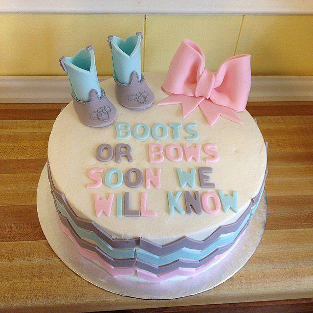 Gender Reveal Party Cakes |  Pastel revelador de género. ¿Niño o niña? ¿Botas o lazo?