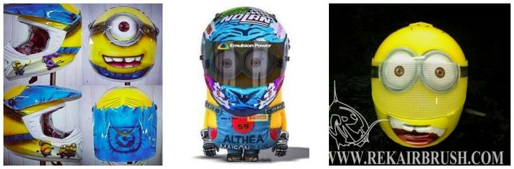 Minions themed motorcycle helmets