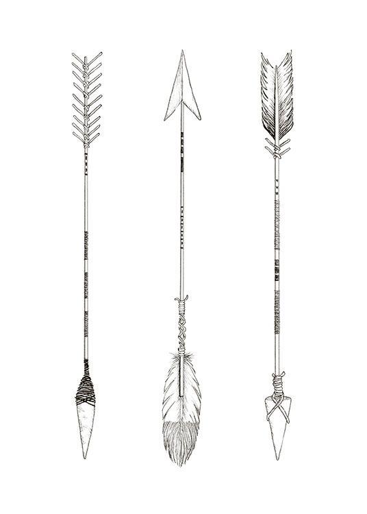 Print with three hand drawn arrows.