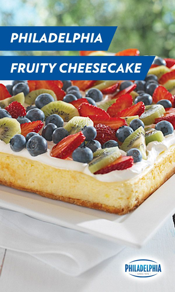 There's nothing forbidden about this fruit. Our Philadelphia Cream Cheese Fruity Cheesecake recipe is made to be eaten. From its tasty kiwi slices to its juicy blueberries and deliciously cool strawberry bites. Bring it to your next get together.