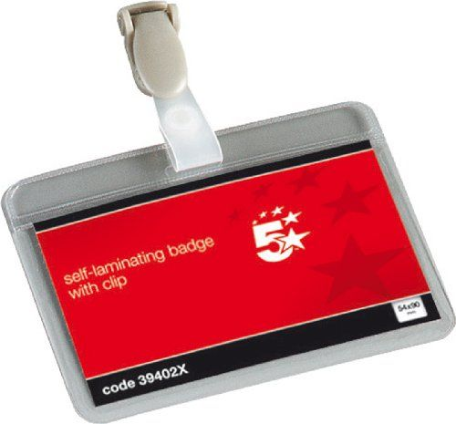 From 4.23 5 Star Office Name Badges Self Laminating Landscape With Plastic Clip 54x90mm [pack 25]