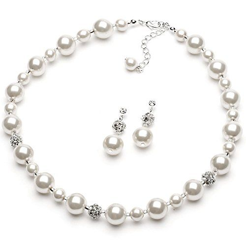 USABride White Simulated Pearl & Rhinestone Necklace and Earrings, Silver Plated Bridal Jewelry Set 1360 WH *** Check out the image by visiting the link.