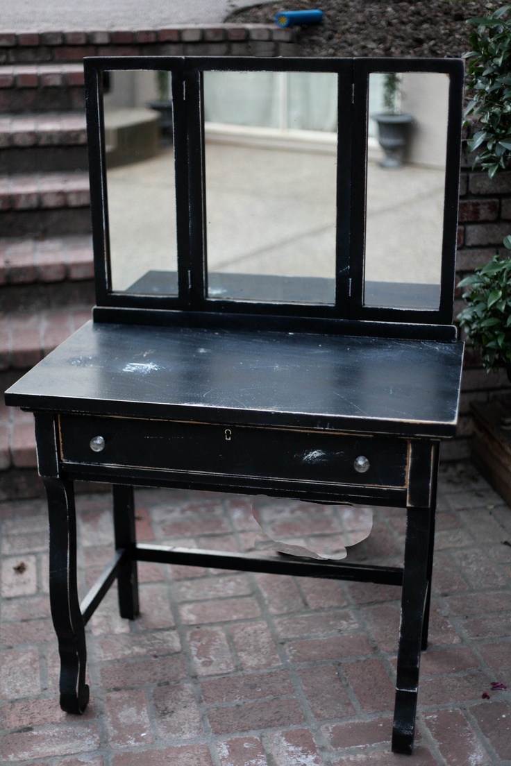 Black Wood Antique Vanity with Tri-fold Mirror - paris french cottage chic. $299.99, via Etsy.