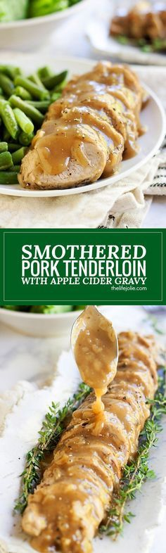 This Smothered Pork Tenderloin in Apple Cider Gravy is the best meat main dish for a holiday dinner when you have a small group of people to feed and also makes a quick and cozy weeknight meal! This recipe is so easy but tastes fantastic and comes togethe