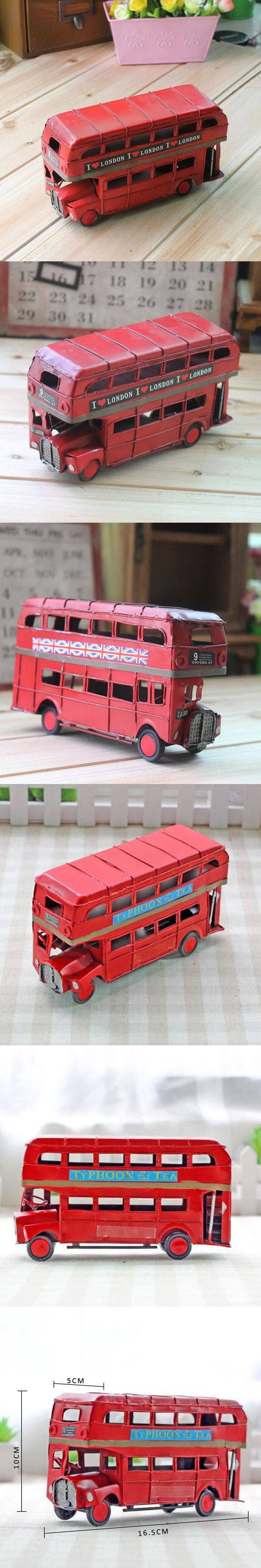 Handmade iron sheet red london double decker bus car models retro furnishing articles arts crafts home decorations