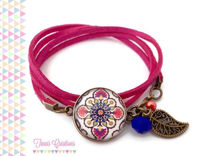 Bracelet cabochon - Oriental - rose fuchsia bleu vert breloque feuille floral verre perle bronze : Bracelet par tinais-creations