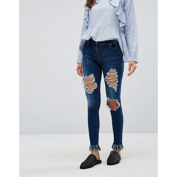 Parisian Extreme Ripped Jeans (46 AUD) ❤ liked on Polyvore featuring jeans, blue, super skinny jeans, distressed skinny jeans, tall skinny jeans, fringe skinny jeans and floral skinny jeans