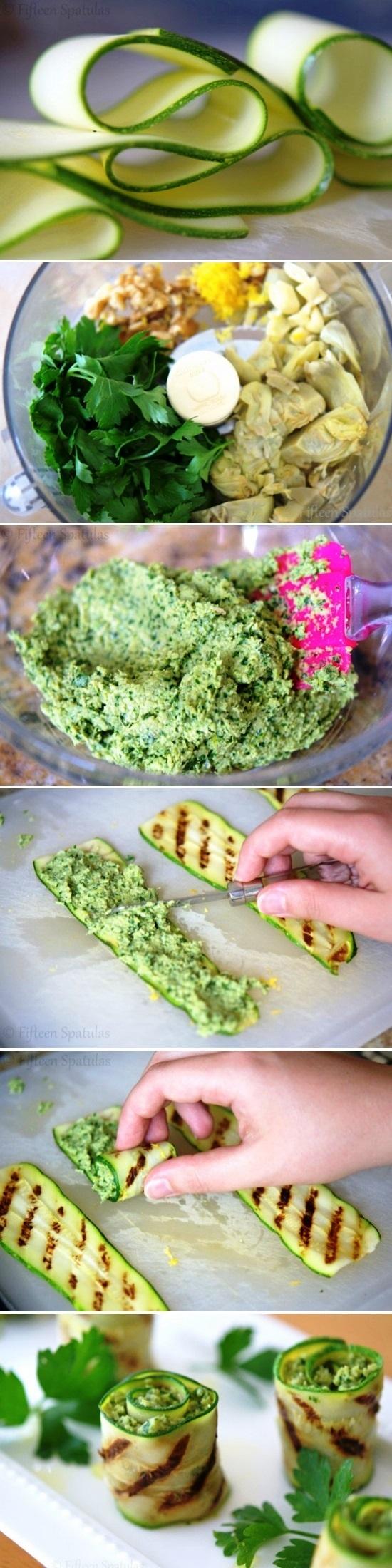 Grilled zucchini artichoke pesto bites