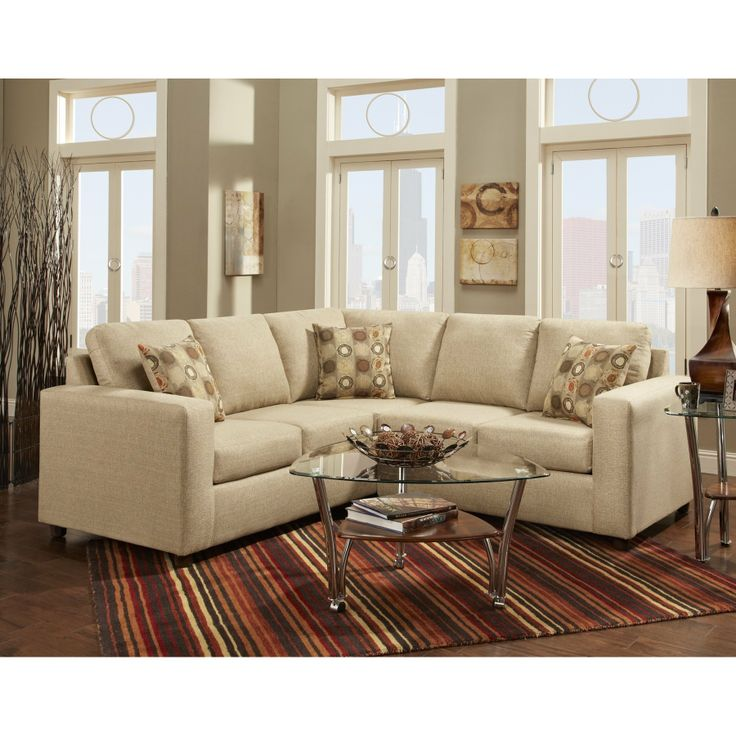Roundhill Furniture Fabric Sectional Sofa With 3 Pillows Vivid Beige