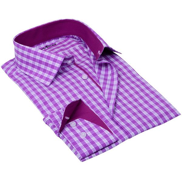 Levinas Levinas Men's Gingham Print Dress Shirt - Purple - Size 3xl ($39) ❤ liked on Polyvore featuring men's fashion, men's clothing, men's shirts, men's dress shirts, purple, mens purple long sleeve shirt, mens purple shirt, mens lined flannel shirts, mens purple dress shirt and mens short sleeve dress shirts