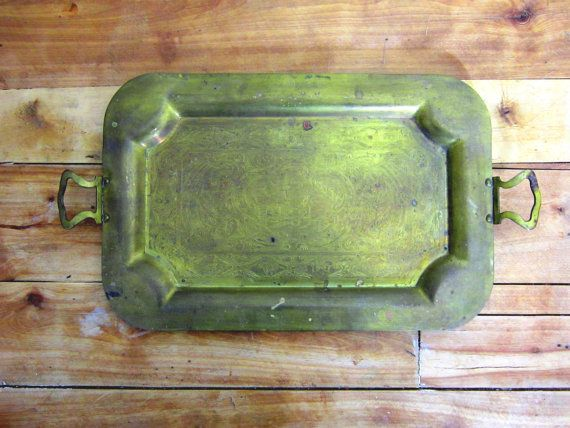 Vintage Brass Tray Etched Dutch Windmill by TimeAndTemperature, $24.00