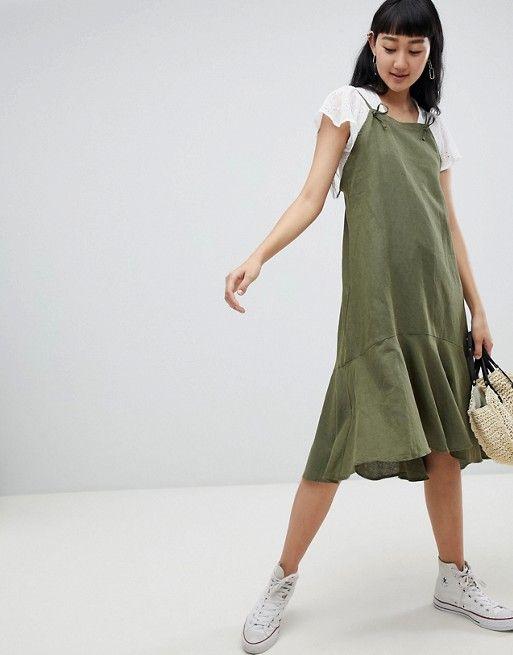71830a9a98a Pull Bear cami linen dress in khaki