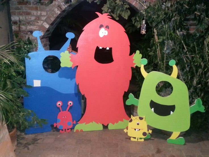 Monster photo booth props for Sebastians party made by my husband.