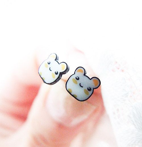 sweet hamster earrings  small hamster studs by LePetitParadisPerdu