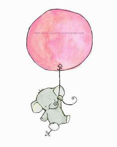 Image result for elephant holding balloons card